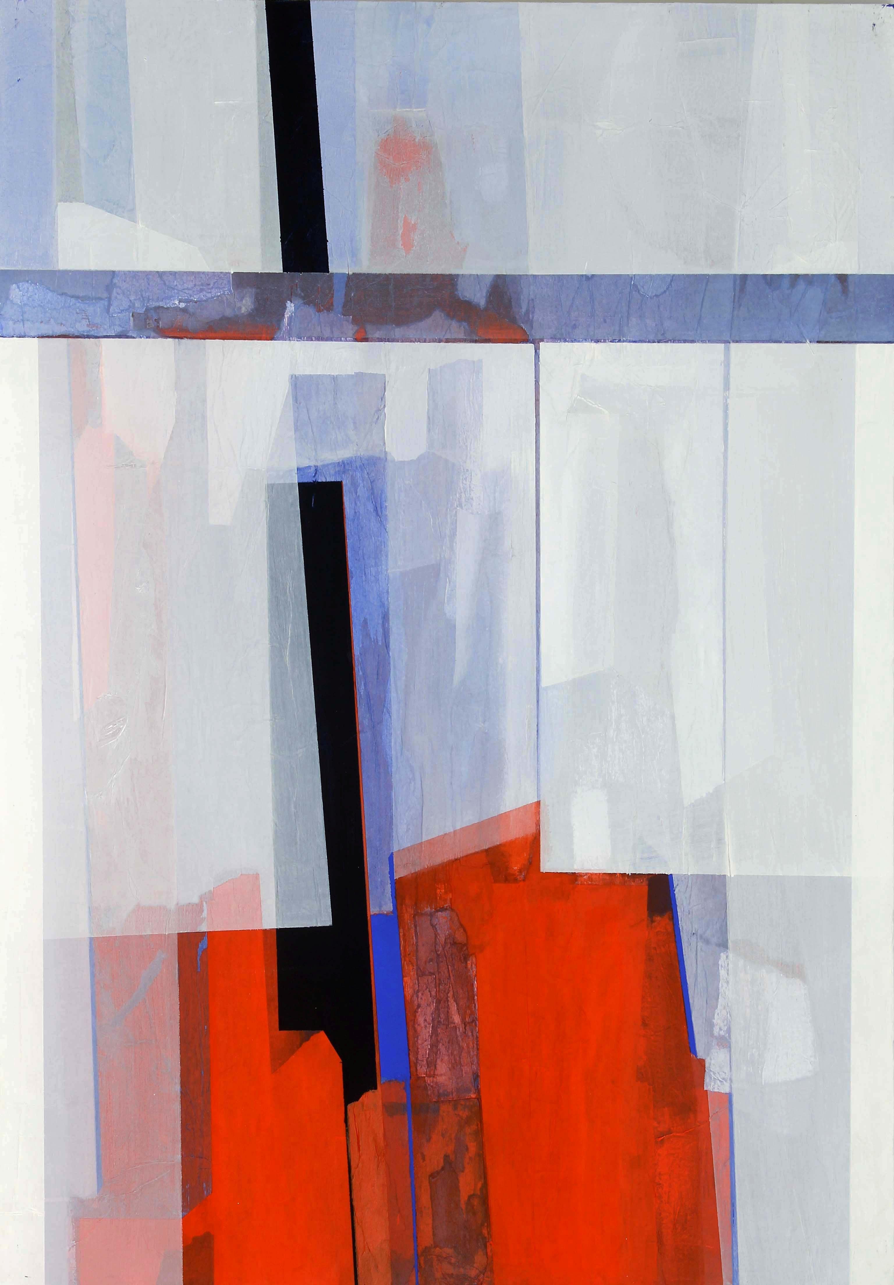 1987 - velature in rosso - carte e acrilici su tavola 100x70